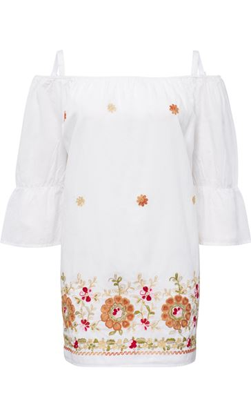 Embroidered Cold Shoulder Tunic White - Gallery Image 3