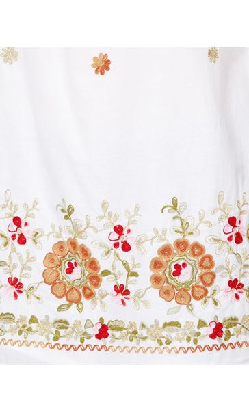 Embroidered Cold Shoulder Tunic White - Gallery Image 4