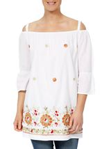 Embroidered Cold Shoulder Tunic White - Gallery Image 1