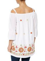 Embroidered Cold Shoulder Tunic White - Gallery Image 2