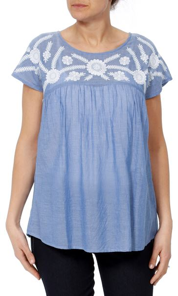 Embroidered Short Sleeve Cotton Top Lt Chambray