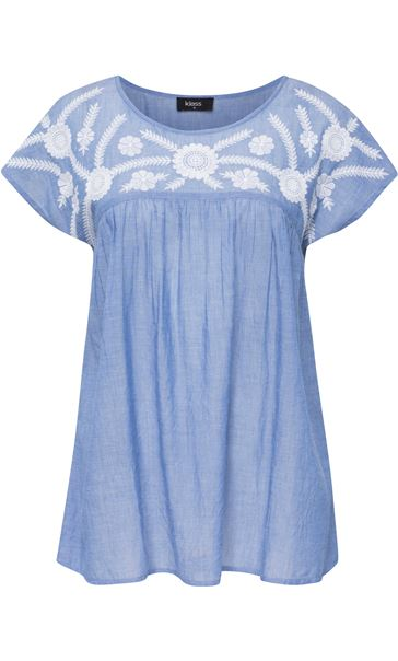 Embroidered Short Sleeve Cotton Top Lt Chambray - Gallery Image 2