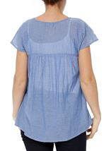 Embroidered Short Sleeve Cotton Top Lt Chambray - Gallery Image 3