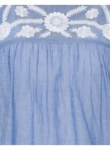 Embroidered Short Sleeve Cotton Top Lt Chambray - Gallery Image 4