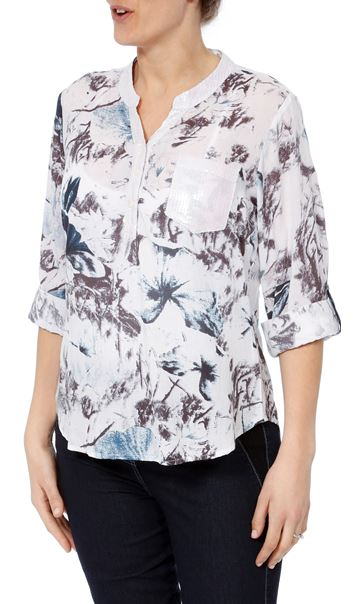 Anna Rose Sequin Trim Print Top