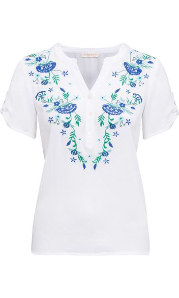 Anna Rose Embroidered Top White