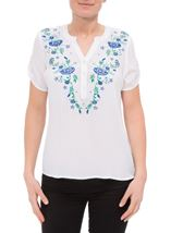 Anna Rose Embroidered Top White - Gallery Image 2