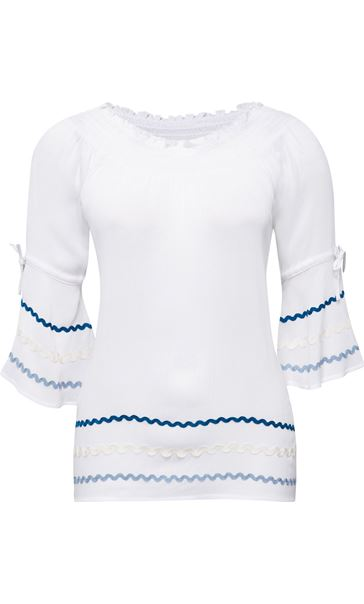 Bell Sleeve Boho Top White