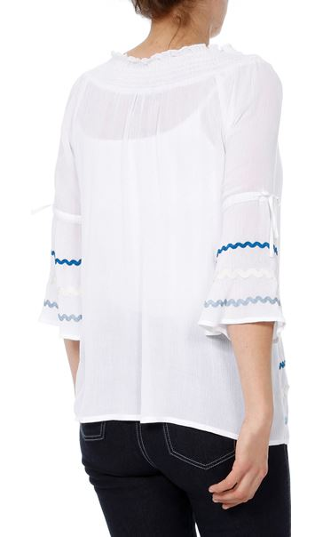 Bell Sleeve Boho Top White - Gallery Image 3
