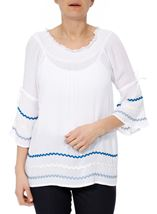 Bell Sleeve Boho Top White - Gallery Image 2