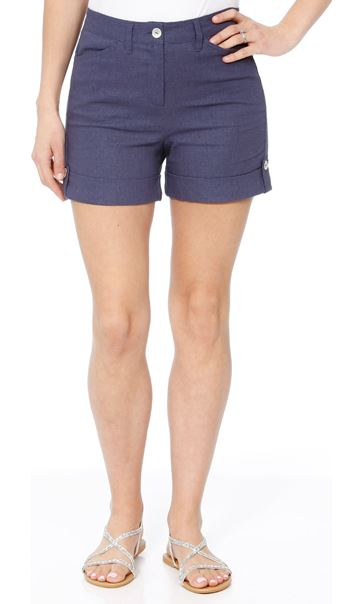 Linen Blend Shorts Navy - Gallery Image 1