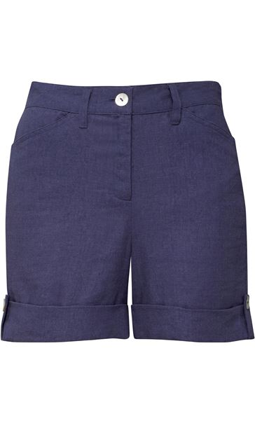 Linen Blend Shorts Navy - Gallery Image 3