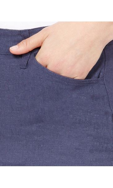 Linen Blend Shorts Navy - Gallery Image 4