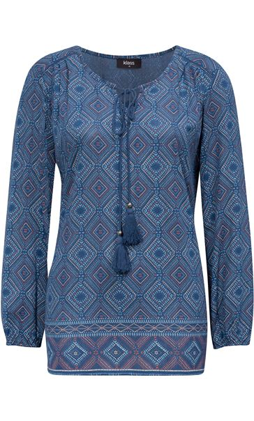 Long Sleeve Printed Top Blue Multi