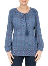 Long Sleeve Printed Top Blue Multi - Gallery Image 2
