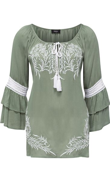 Embroidered Layered Sleeve Boho Top Sage Green