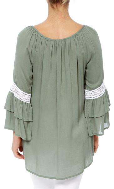 Embroidered Layered Sleeve Boho Top Sage Green - Gallery Image 3