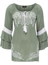Embroidered Layered Sleeve Boho Top Sage Green - Gallery Image 1