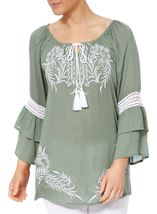 Embroidered Layered Sleeve Boho Top Sage Green - Gallery Image 2