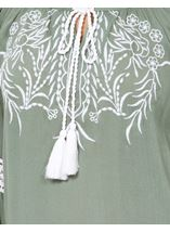 Embroidered Layered Sleeve Boho Top Sage Green - Gallery Image 4