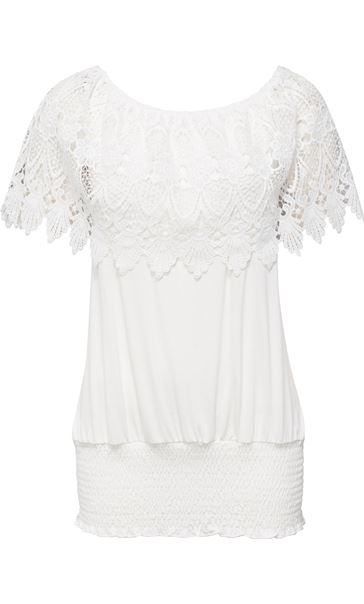 Lace Trim Jersey Top White