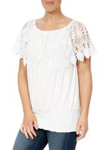 Lace Trim Jersey Top White - Gallery Image 2