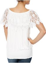 Lace Trim Jersey Top White - Gallery Image 3