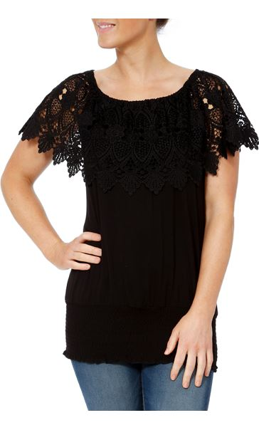 Lace Trim Jersey Top Black - Gallery Image 2