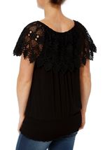 Lace Trim Jersey Top Black - Gallery Image 3