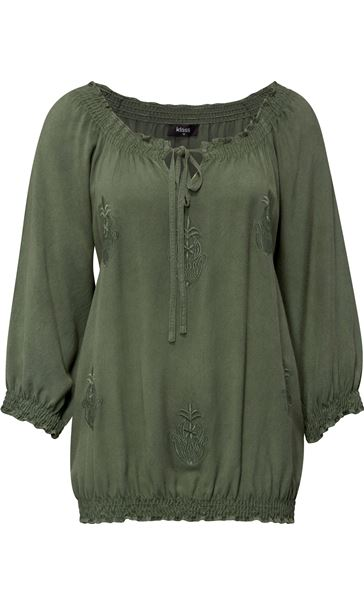 Embroidered Washed Top Sage Green