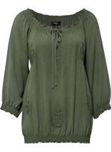 Embroidered Washed Top Sage Green - Gallery Image 1
