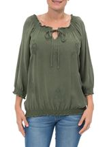Embroidered Washed Top Sage Green - Gallery Image 2