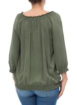 Embroidered Washed Top Sage Green - Gallery Image 3