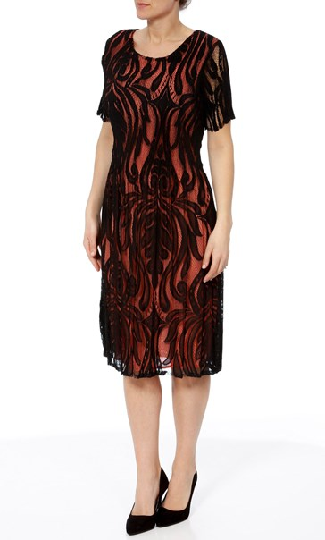 Short Sleeve Lace Layer Midi Dress Black/Papaya