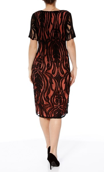 Short Sleeve Lace Layer Midi Dress Black/Papaya - Gallery Image 2
