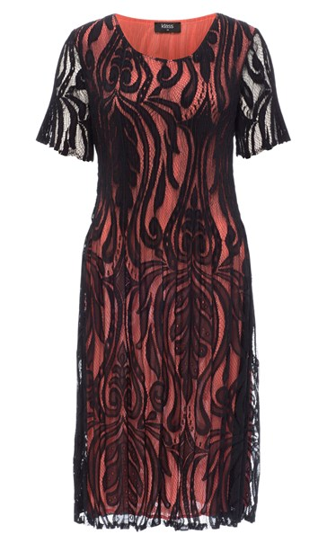 Short Sleeve Lace Layer Midi Dress Black/Papaya - Gallery Image 3