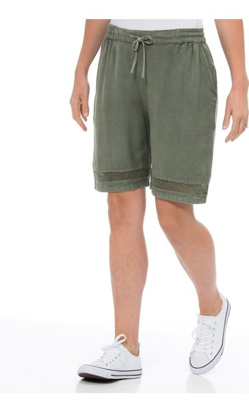 Loose Fitting Elasticated Waist Shorts Green - Gallery Image 2