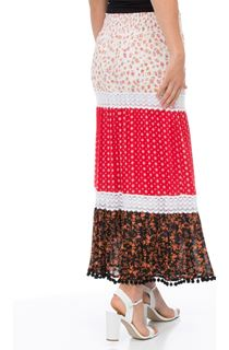 Layered Print Maxi Skirt