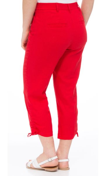 Anna Rose Linen Blend Cropped Trousers Poppy - Gallery Image 2