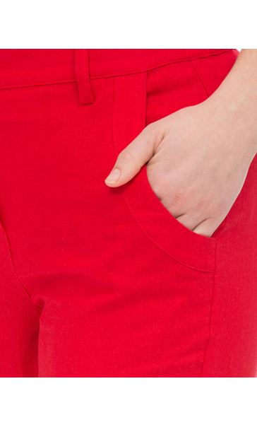 Anna Rose Linen Blend Cropped Trousers Poppy - Gallery Image 3