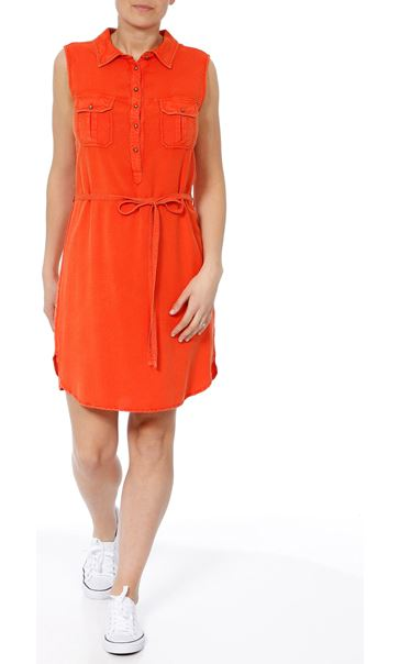 Washed Denim Look Tunic Tangerine