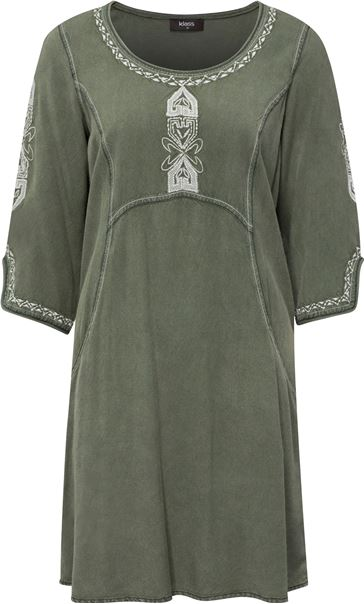 Embroidered Washed Denim Look Tunic Sage Green