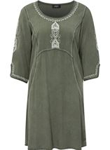Embroidered Washed Denim Look Tunic Sage Green - Gallery Image 1