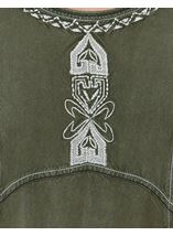 Embroidered Washed Denim Look Tunic Sage Green - Gallery Image 4