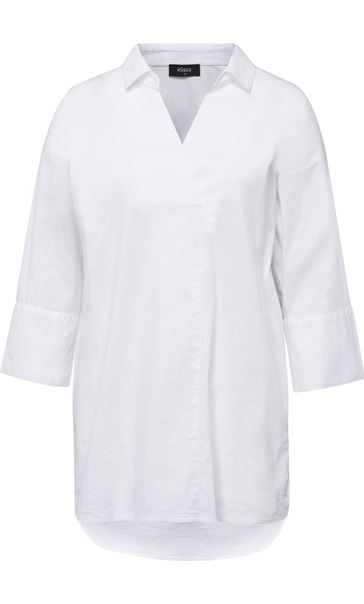 Cotton Stretch Three Quarter Sleeve Top White