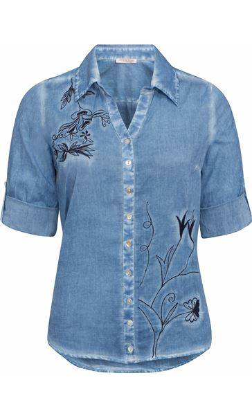Anna Rose Embroidered Washed Blouse Blue