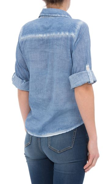 Anna Rose Embroidered Washed Blouse Blue - Gallery Image 3