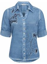 Anna Rose Embroidered Washed Blouse Blue - Gallery Image 1