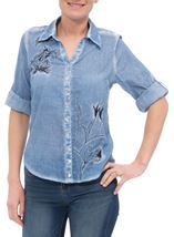 Anna Rose Embroidered Washed Blouse Blue - Gallery Image 2