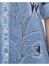 Anna Rose Embroidered Washed Blouse Blue - Gallery Image 4